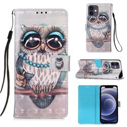 Sweet Gray Owl 3D Painted Leather Wallet Case for iPhone 12 mini (5.4 inch)
