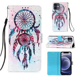 ColorDrops Wind Chimes 3D Painted Leather Wallet Case for iPhone 12 mini (5.4 inch)