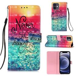 Colorful Dream Catcher 3D Painted Leather Wallet Case for iPhone 12 mini (5.4 inch)