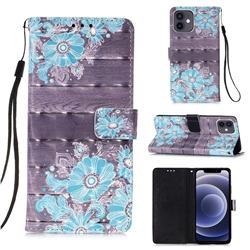 Blue Flower 3D Painted Leather Wallet Case for iPhone 12 mini (5.4 inch)