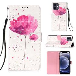 Watercolor 3D Painted Leather Wallet Case for iPhone 12 mini (5.4 inch)