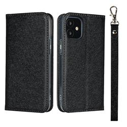 Ultra Slim Magnetic Automatic Suction Silk Lanyard Leather Flip Cover for iPhone 12 mini (5.4 inch) - Black