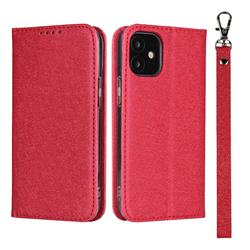 Ultra Slim Magnetic Automatic Suction Silk Lanyard Leather Flip Cover for iPhone 12 mini (5.4 inch) - Red