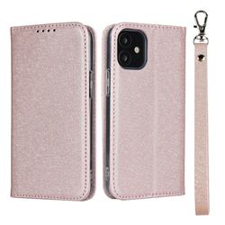 Ultra Slim Magnetic Automatic Suction Silk Lanyard Leather Flip Cover for iPhone 12 mini (5.4 inch) - Rose Gold