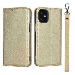 Ultra Slim Magnetic Automatic Suction Silk Lanyard Leather Flip Cover for iPhone 12 mini (5.4 inch) - Golden