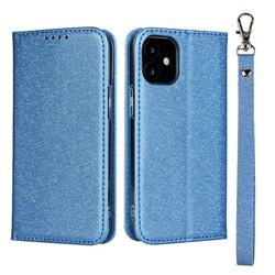 Ultra Slim Magnetic Automatic Suction Silk Lanyard Leather Flip Cover for iPhone 12 mini (5.4 inch) - Sky Blue