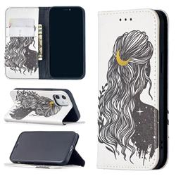 Girl with Long Hair Slim Magnetic Attraction Wallet Flip Cover for iPhone 12 mini (5.4 inch)