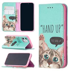 Hand Up Cat Slim Magnetic Attraction Wallet Flip Cover for iPhone 12 mini (5.4 inch)