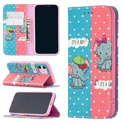 Elephant Boy and Girl Slim Magnetic Attraction Wallet Flip Cover for iPhone 12 mini (5.4 inch)