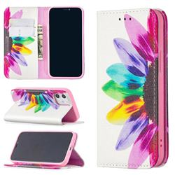 Sun Flower Slim Magnetic Attraction Wallet Flip Cover for iPhone 12 mini (5.4 inch)