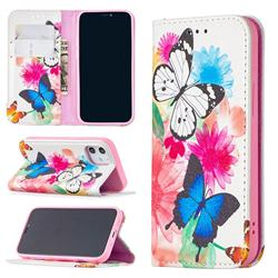 Flying Butterflies Slim Magnetic Attraction Wallet Flip Cover for iPhone 12 mini (5.4 inch)