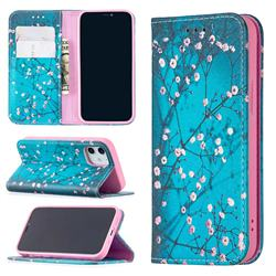 Plum Blossom Slim Magnetic Attraction Wallet Flip Cover for iPhone 12 mini (5.4 inch)