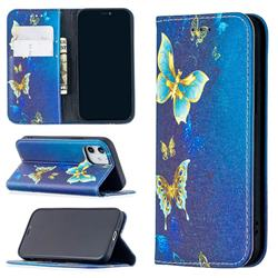 Gold Butterfly Slim Magnetic Attraction Wallet Flip Cover for iPhone 12 mini (5.4 inch)