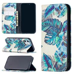 Blue Leaf Slim Magnetic Attraction Wallet Flip Cover for iPhone 12 mini (5.4 inch)