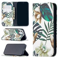 Flower Leaf Slim Magnetic Attraction Wallet Flip Cover for iPhone 12 mini (5.4 inch)