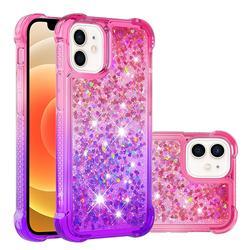 Rainbow Gradient Liquid Glitter Quicksand Sequins Phone Case for iPhone 12 mini (5.4 inch) - Pink Purple