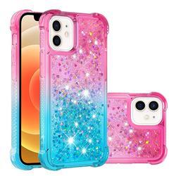 Rainbow Gradient Liquid Glitter Quicksand Sequins Phone Case for iPhone 12 mini (5.4 inch) - Pink Blue