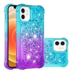 Rainbow Gradient Liquid Glitter Quicksand Sequins Phone Case for iPhone 12 mini (5.4 inch) - Blue Purple