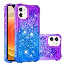 Rainbow Gradient Liquid Glitter Quicksand Sequins Phone Case for iPhone 12 mini (5.4 inch) - Purple Blue