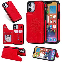 Luxury Tree and Cat Multifunction Magnetic Card Slots Stand Leather Phone Back Cover for iPhone 12 mini (5.4 inch) - Red
