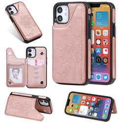 Luxury Tree and Cat Multifunction Magnetic Card Slots Stand Leather Phone Back Cover for iPhone 12 mini (5.4 inch) - Rose Gold