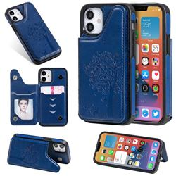 Luxury Tree and Cat Multifunction Magnetic Card Slots Stand Leather Phone Back Cover for iPhone 12 mini (5.4 inch) - Blue