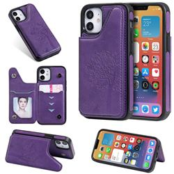 Luxury Tree and Cat Multifunction Magnetic Card Slots Stand Leather Phone Back Cover for iPhone 12 mini (5.4 inch) - Purple