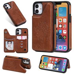 Luxury Tree and Cat Multifunction Magnetic Card Slots Stand Leather Phone Back Cover for iPhone 12 mini (5.4 inch) - Brown