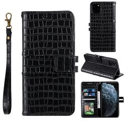 Luxury Crocodile Magnetic Leather Wallet Phone Case for iPhone 12 mini (5.4 inch) - Black