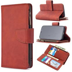 Binfen Color BF02 Sensory Buckle Zipper Multifunction Leather Phone Wallet for iPhone 12 mini (5.4 inch) - Brown