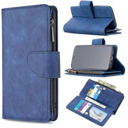 Binfen Color BF02 Sensory Buckle Zipper Multifunction Leather Phone Wallet for iPhone 12 mini (5.4 inch) - Blue