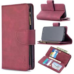 Binfen Color BF02 Sensory Buckle Zipper Multifunction Leather Phone Wallet for iPhone 12 mini (5.4 inch) - Red Wine