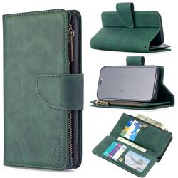 Binfen Color BF02 Sensory Buckle Zipper Multifunction Leather Phone Wallet for iPhone 12 mini (5.4 inch) - Dark Green