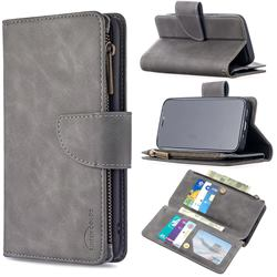 Binfen Color BF02 Sensory Buckle Zipper Multifunction Leather Phone Wallet for iPhone 12 mini (5.4 inch) - Gray