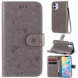 Embossing Bee and Cat Leather Wallet Case for iPhone 12 mini (5.4 inch) - Gray