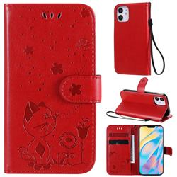 Embossing Bee and Cat Leather Wallet Case for iPhone 12 mini (5.4 inch) - Red