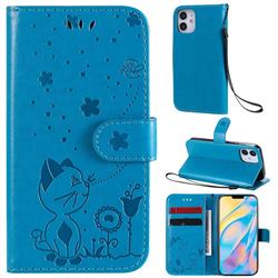Embossing Bee and Cat Leather Wallet Case for iPhone 12 mini (5.4 inch) - Blue