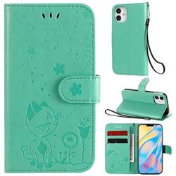 Embossing Bee and Cat Leather Wallet Case for iPhone 12 mini (5.4 inch) - Green
