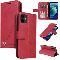 GQ.UTROBE Right Angle Silver Pendant Leather Wallet Phone Case for iPhone 12 mini (5.4 inch) - Red