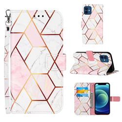 Pink White Stitching Color Marble Leather Wallet Case for iPhone 12 mini (5.4 inch)