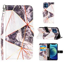 Black and White Stitching Color Marble Leather Wallet Case for iPhone 12 mini (5.4 inch)