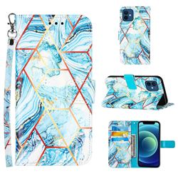 Lake Blue Stitching Color Marble Leather Wallet Case for iPhone 12 mini (5.4 inch)
