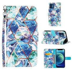 Green and Blue Stitching Color Marble Leather Wallet Case for iPhone 12 mini (5.4 inch)