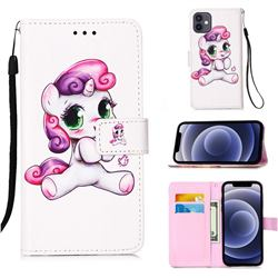 Playful Pony Matte Leather Wallet Phone Case for iPhone 12 mini (5.4 inch)