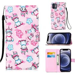 Unicorn and Flowers Matte Leather Wallet Phone Case for iPhone 12 mini (5.4 inch)