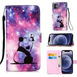 Panda Baby Matte Leather Wallet Phone Case for iPhone 12 mini (5.4 inch)