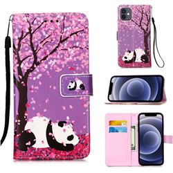 Cherry Blossom Panda Matte Leather Wallet Phone Case for iPhone 12 mini (5.4 inch)