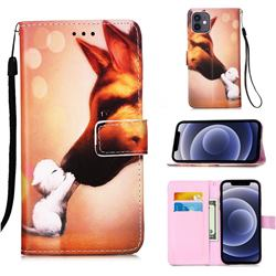 Hound Kiss Matte Leather Wallet Phone Case for iPhone 12 mini (5.4 inch)