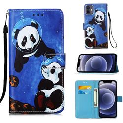 Undersea Panda Matte Leather Wallet Phone Case for iPhone 12 mini (5.4 inch)