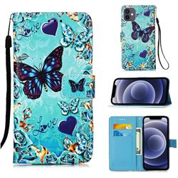 Love Butterfly Matte Leather Wallet Phone Case for iPhone 12 mini (5.4 inch)